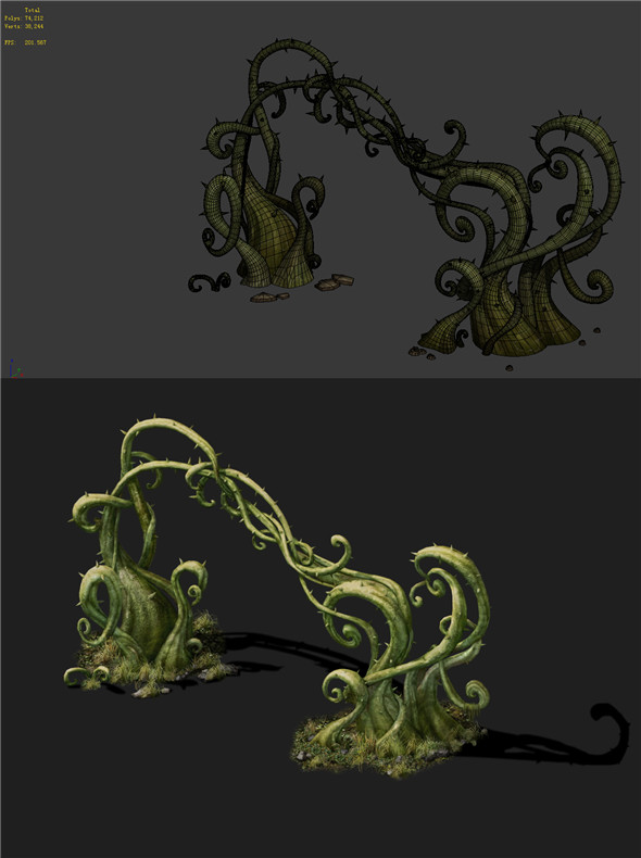Game Models - poison Valley Scene - poisonous plant thorn 01 - 3DOcean Item for Sale