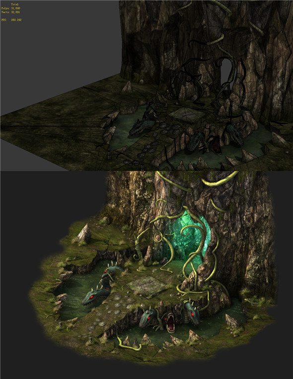 Game Models - poison Valley scene - Viper the guardian of the tree hole 01 - 3DOcean Item for Sale