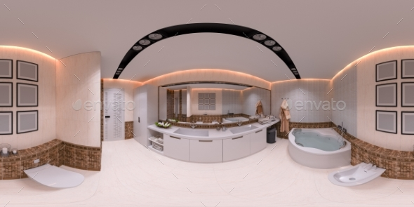 3d Illustration 360 Degrees Panorama of Bathroom - Architecture 3D Renders