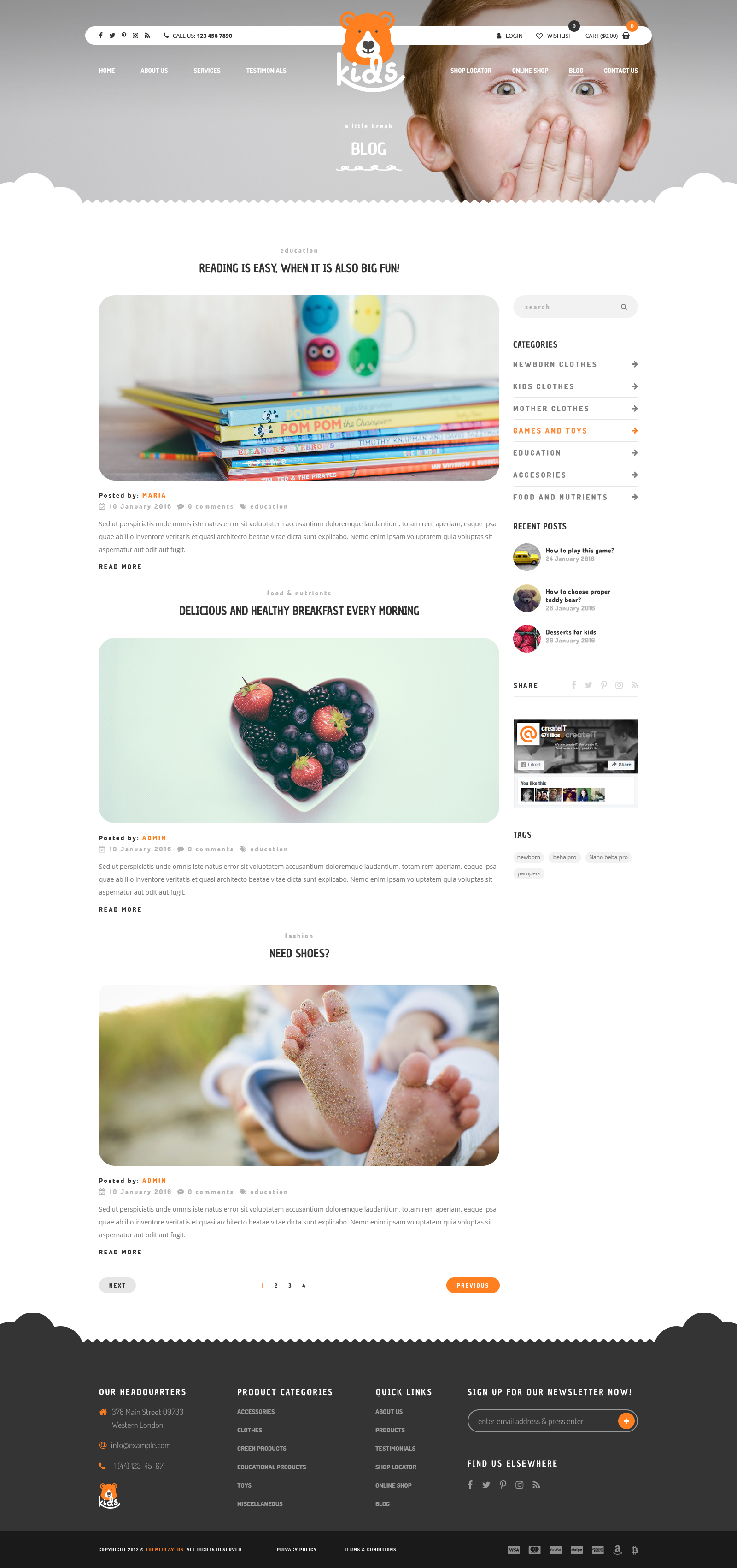 Kids Child Friendly Toys Clothes Accessories Store Psd Template