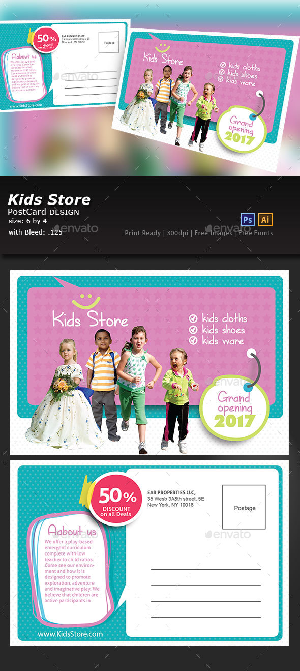 Kids Store Post Card - Cards & Invites Print Templates