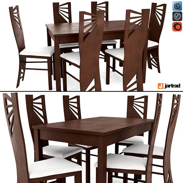 Jartrad Dining Table set 53 - 3DOcean Item for Sale