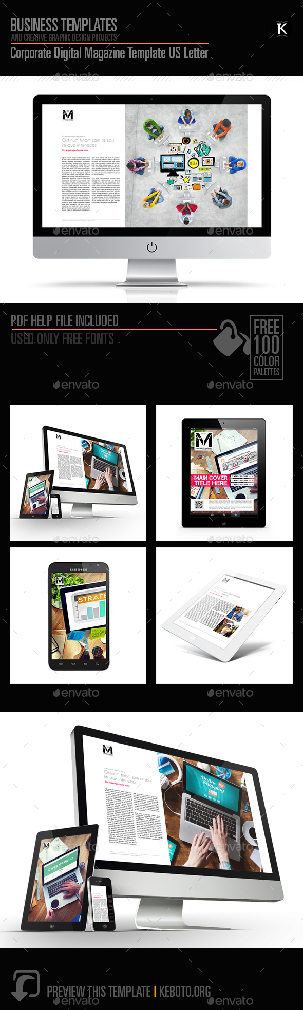 Corporate Digital Magazine Template US Letter - ePublishing