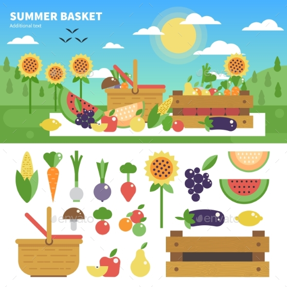 Basket Full of Fresh Fruits and Vegetables - Food Objects