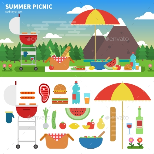 Summer Picnic in the Mountains - Seasons/Holidays Conceptual