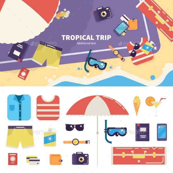 Kit for Tropical Trip on Sand - Seasons/Holidays Conceptual