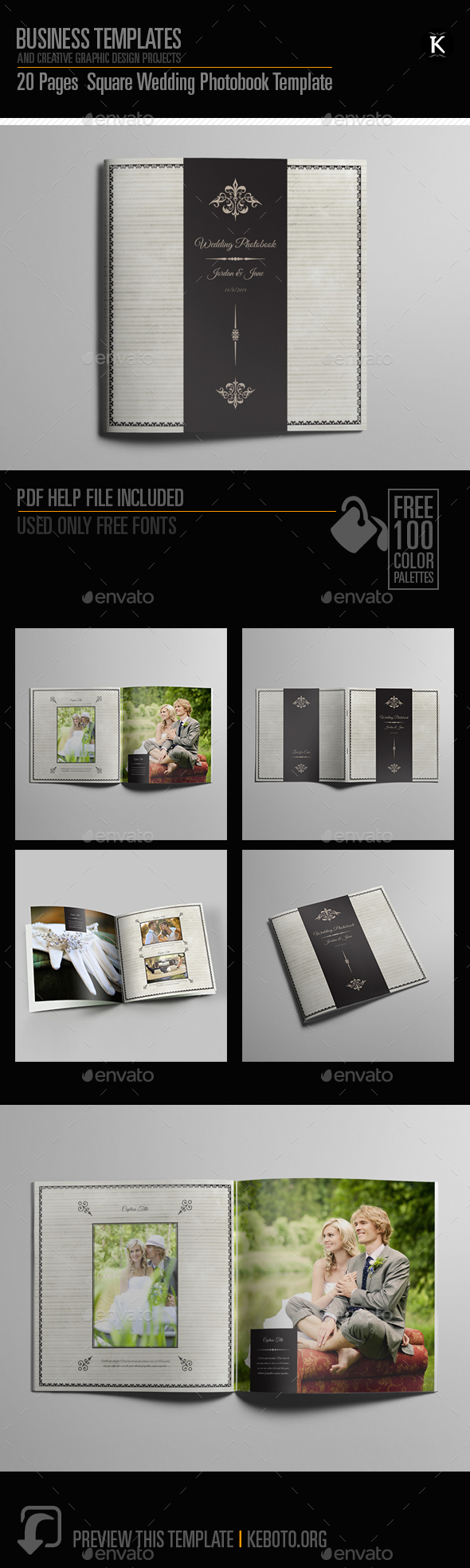 20 pages square wedding photobook template by keboto graphicriver. Black Bedroom Furniture Sets. Home Design Ideas