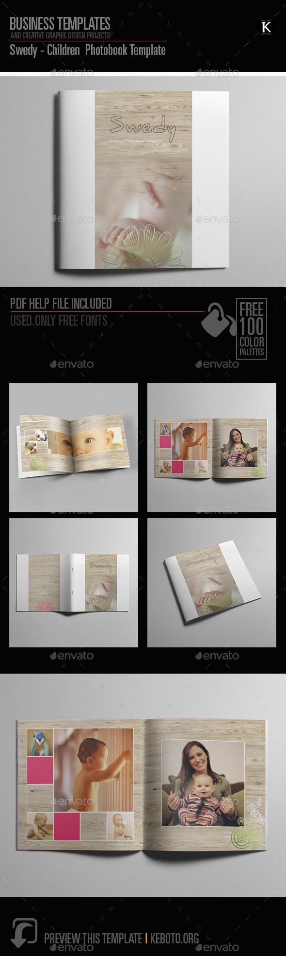 Swedy - Children Photobook Template - Photo Albums Print Templates
