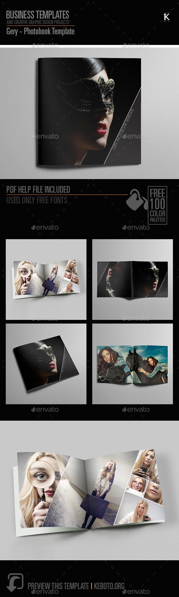 Gery - Photobook Template - Photo Albums Print Templates
