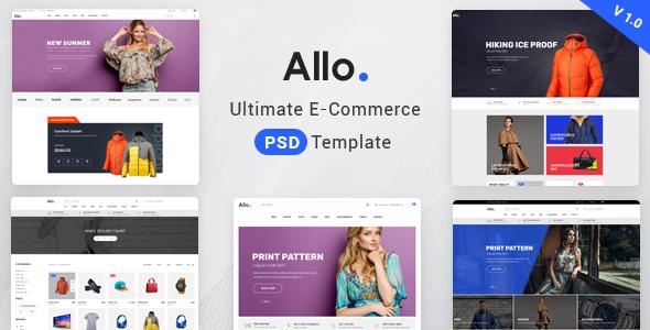 Allo E-Commerce Psd Template - Retail PSD Templates