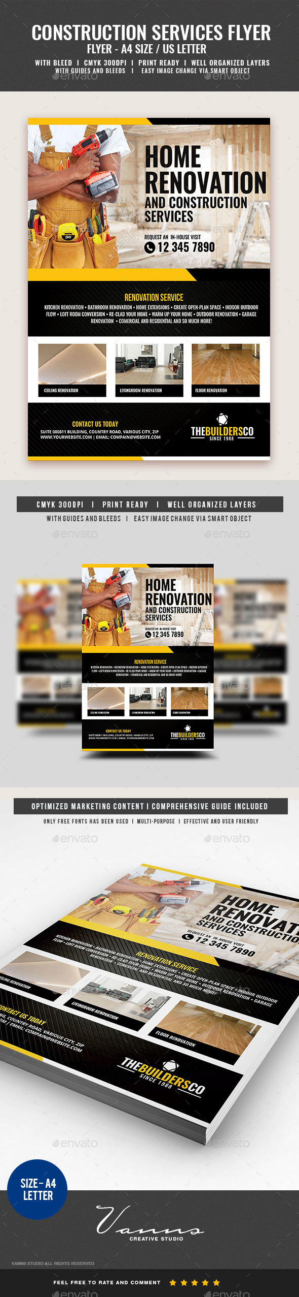 Company Construction and Building Flyer - Corporate Flyers
