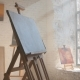 Clear Canvas on Wooden Easel Ready To Be Painted in Art Workshop