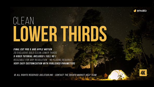 final cut pro lower thirds templates - gold clean lower thirds for final cut pro x by