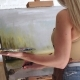 Creating Painting with Oil Paints and Wide Brush, Middle Distance