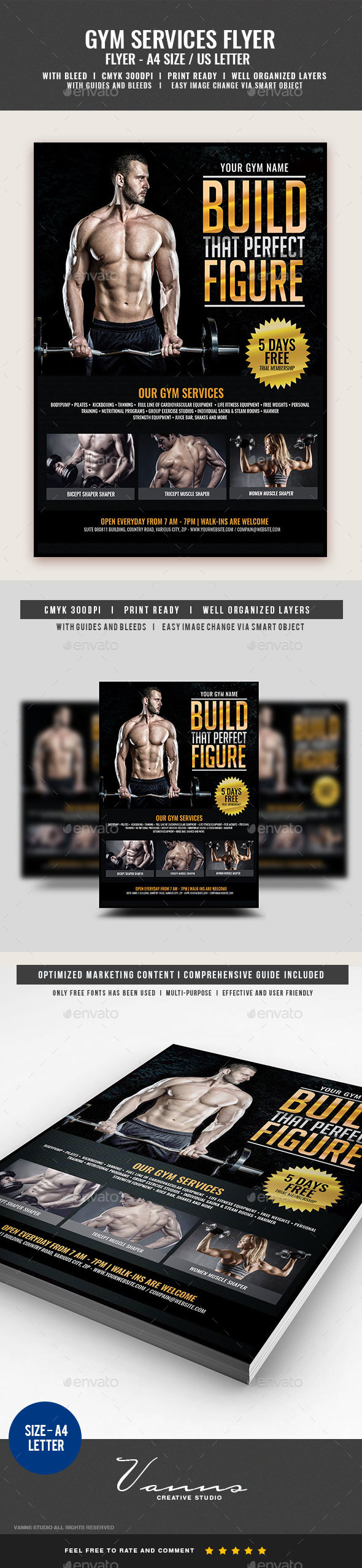 Gym Body Building Fitness Services Flyer