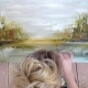 Picturesque Oil Painting Performed By Young Artist Girl