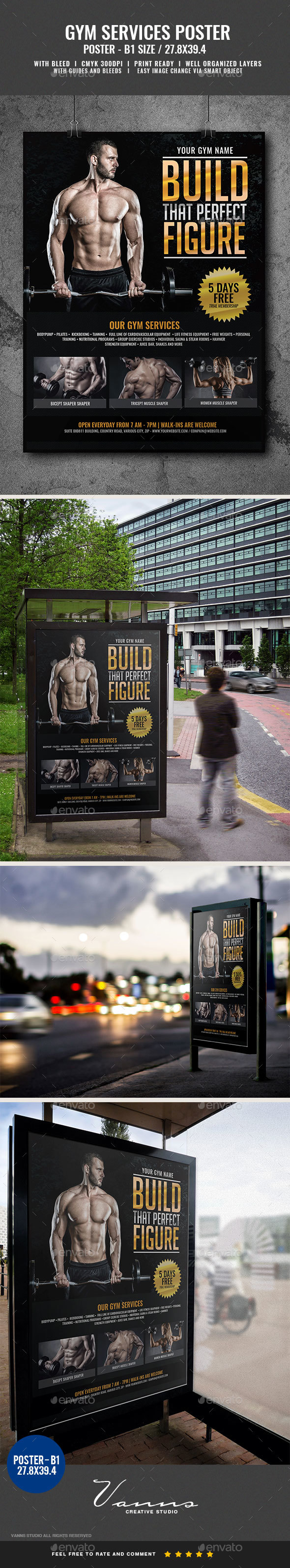 Gym Body Building Fitness Services Poster - Signage Print Templates