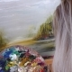 Blond Artist Paints Oil Paints on Canvas. Details, Front View