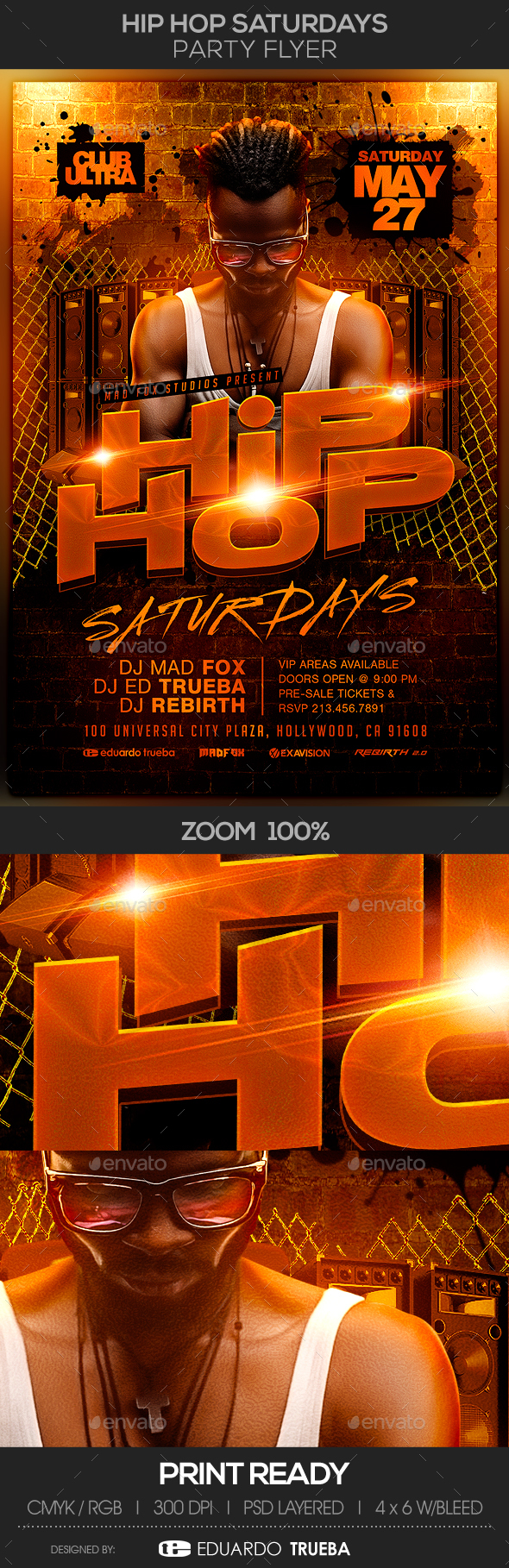 Hip Hop Saturdays Party Flyer - Clubs & Parties Events