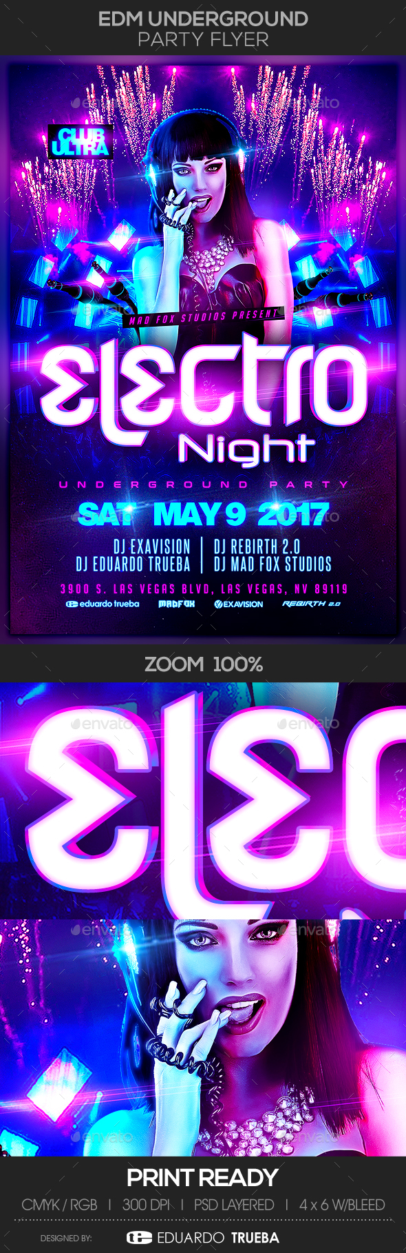 EDM Electro House Underground Music Party Flyer - Clubs & Parties Events