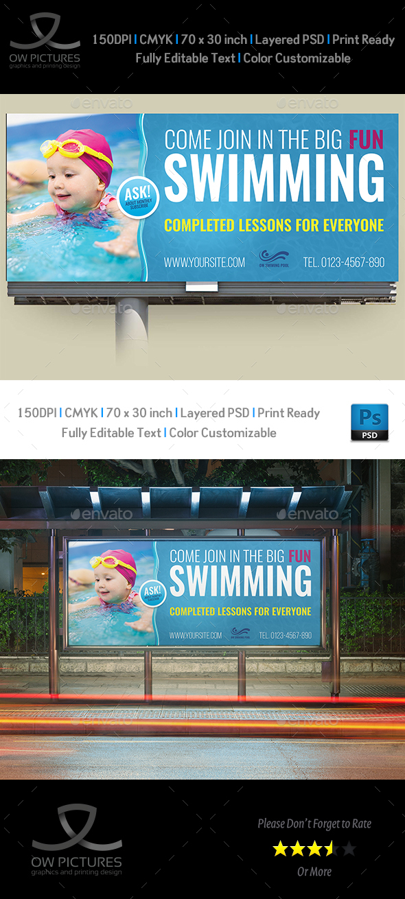 Swimming Billboard Template - Signage Print Templates