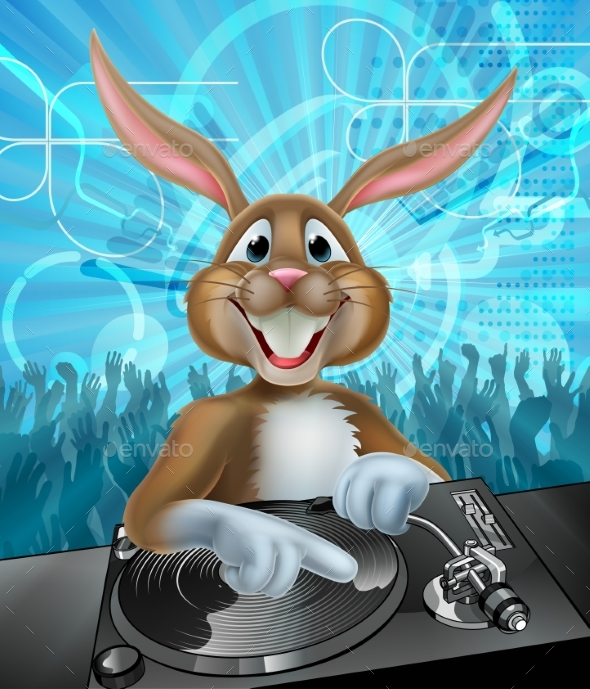 Cartoon Easter Party Bunny DJ - Backgrounds Decorative