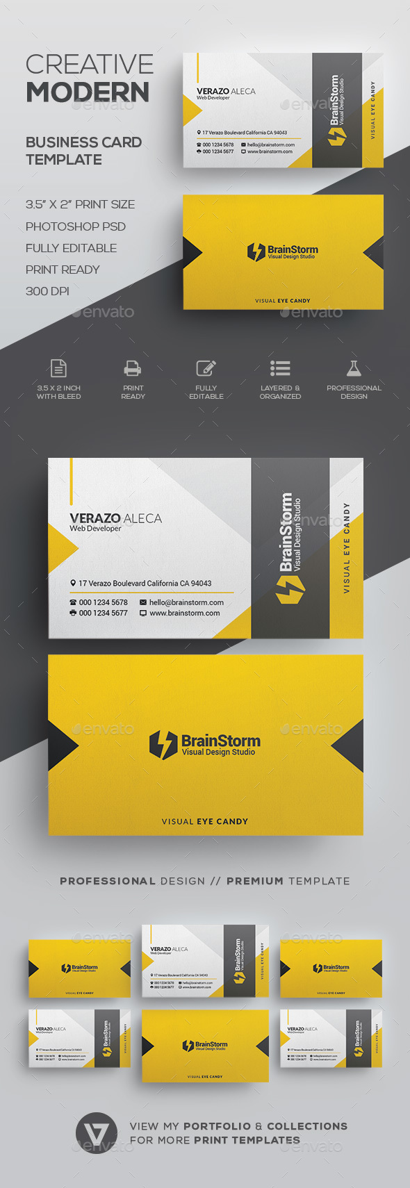 Creative modern business card template by verazo graphicriver creative modern business card template corporate business cards cheaphphosting Image collections