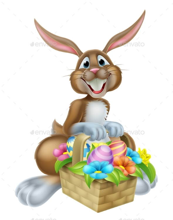 Bunny Rabbit with Basket of Easter Eggs - Flowers & Plants Nature