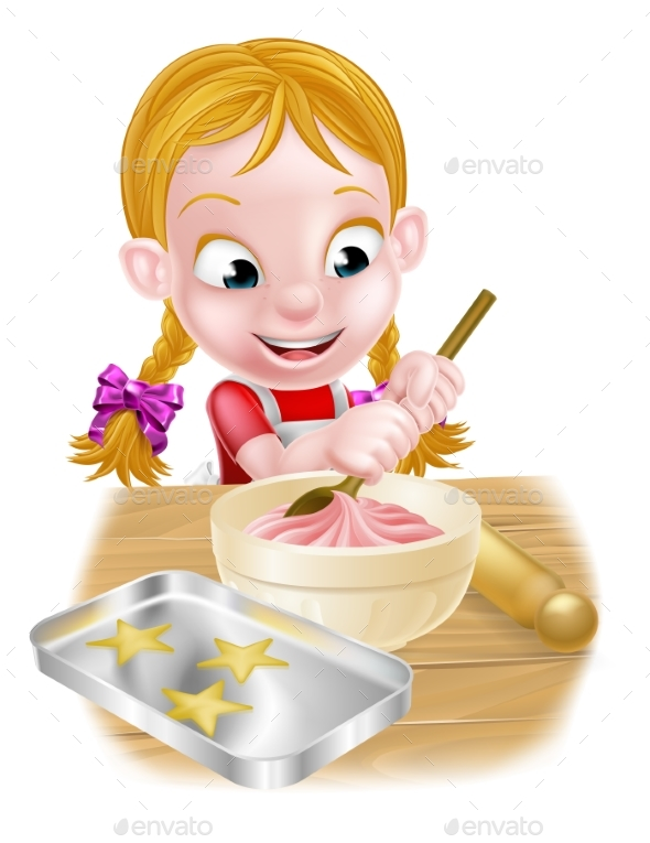 Cartoon Baking Girl - Food Objects