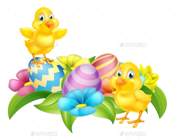 Cartoon Chicks and Easter Eggs - Flowers & Plants Nature