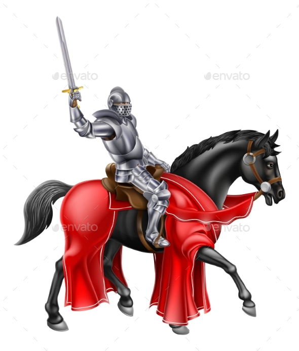 Medieval Knight on Black Horse - Buildings Objects