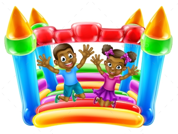 Children Jumping on Bouncy Castle - People Characters