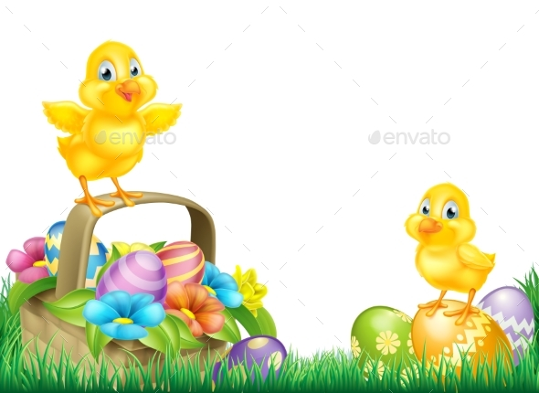 Chicks and Easter Eggs Basket Field - Animals Characters