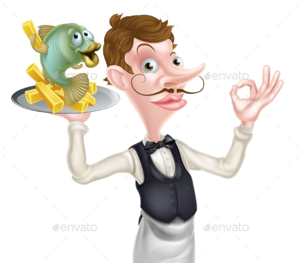 Cartoon Waiter Butler Fish and Chips - Food Objects