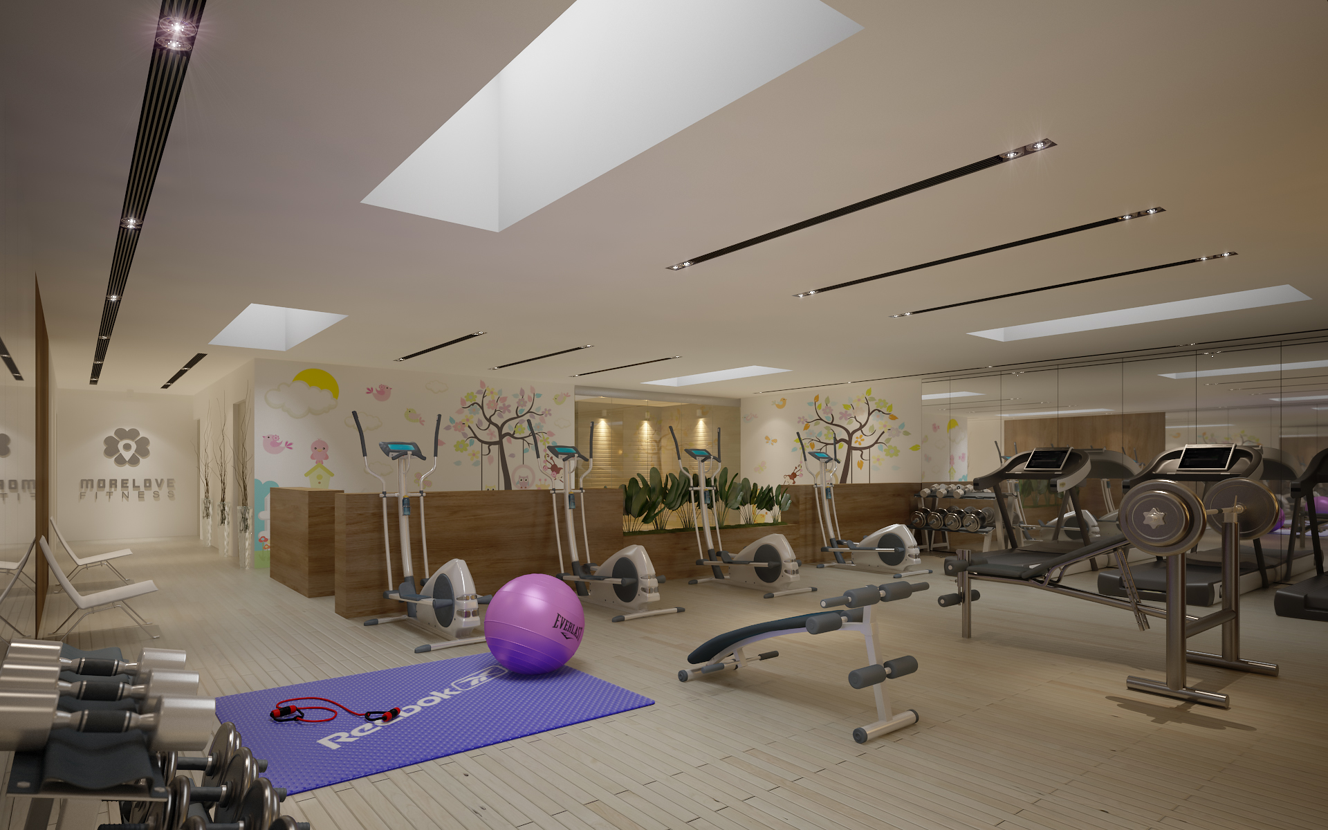 Gym Fitness Interior Design With Kids Area Render Ready