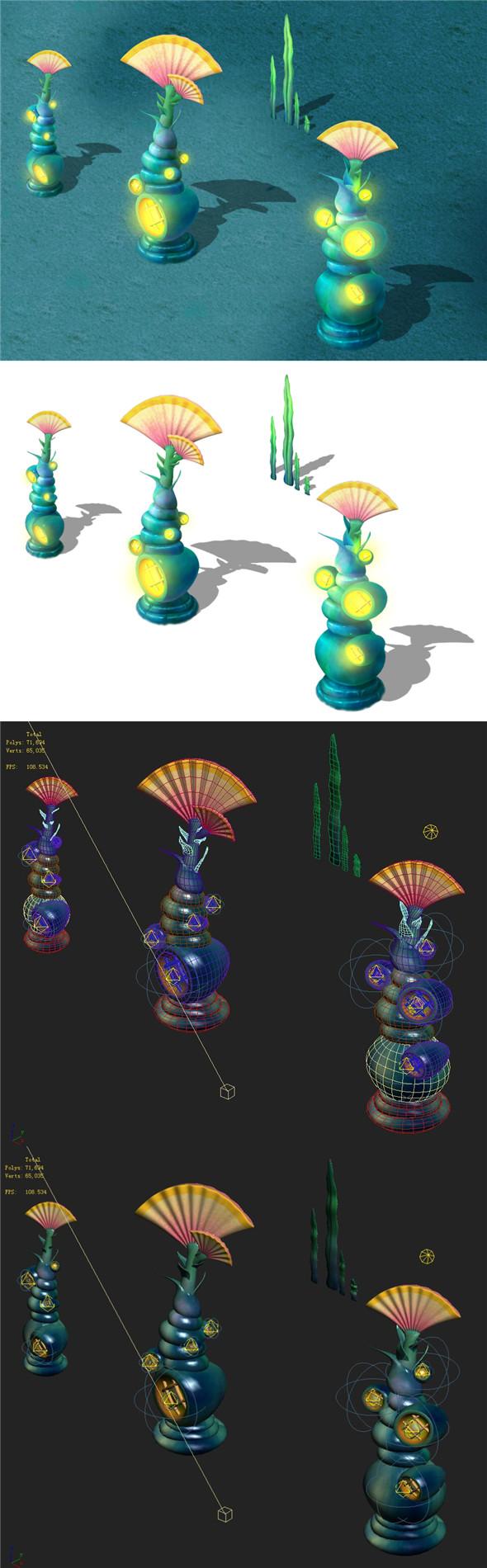 Submarine cartoon world - sea elves lighthouse - 3DOcean Item for Sale