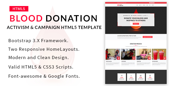 Blood Donation – Activism & Campaign HTML5 Template