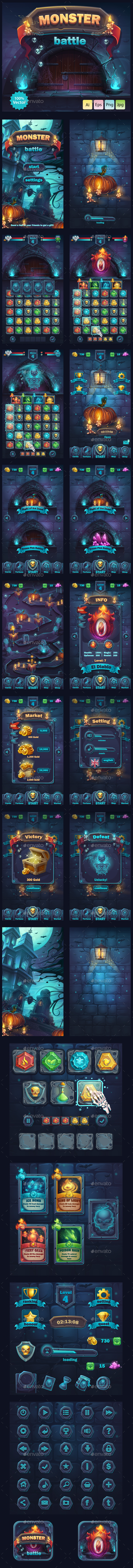 Monster Battle GUI - User Interfaces Game Assets