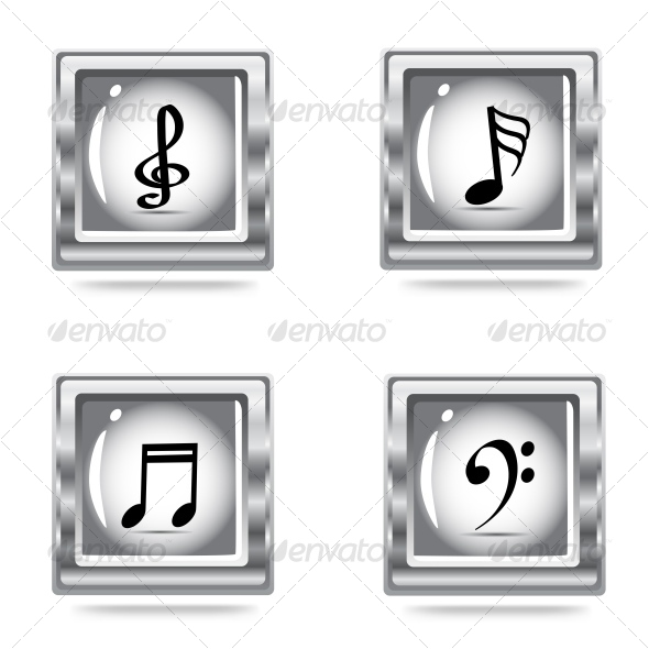 musical  icons set - Objects Vectors