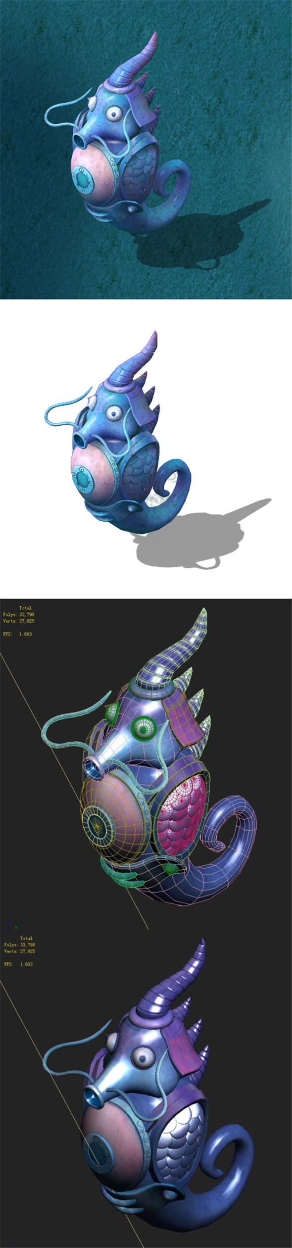 Submarine cartoon world - Dragon Palace hippocampus guards - 3DOcean Item for Sale