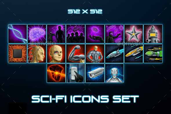 20 Sci-Fi Skill Icons Pack 2 - Miscellaneous Game Assets