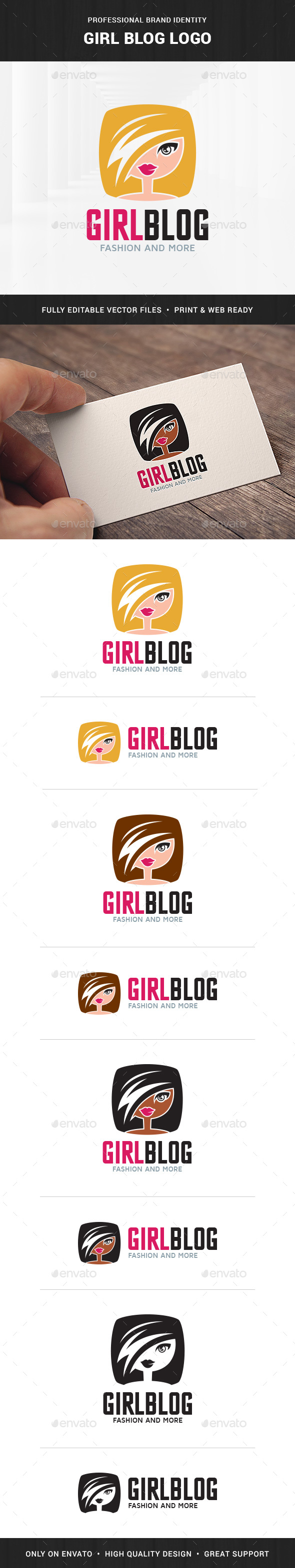 Girl Blog Logo Template - Humans Logo Templates