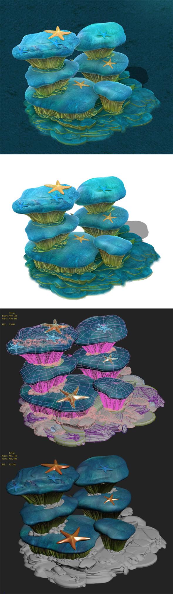 Submarine Cartoon World - Dream Xia Township Rock Wall 2 - 3DOcean Item for Sale