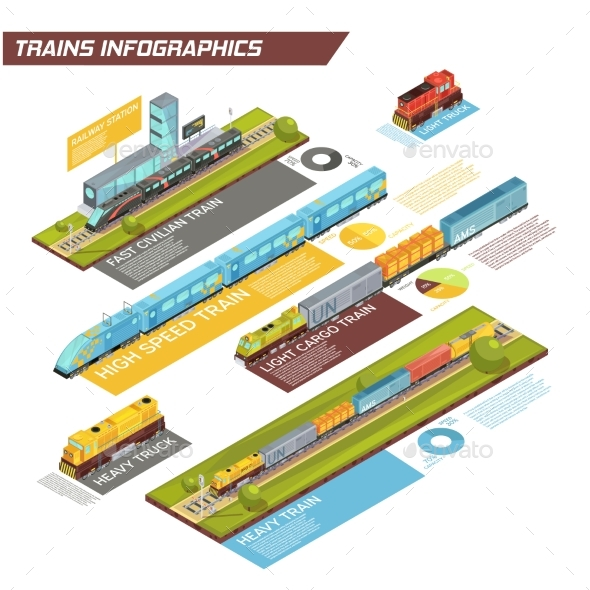 Railroad Movement Traffic Infographics - Man-made Objects Objects