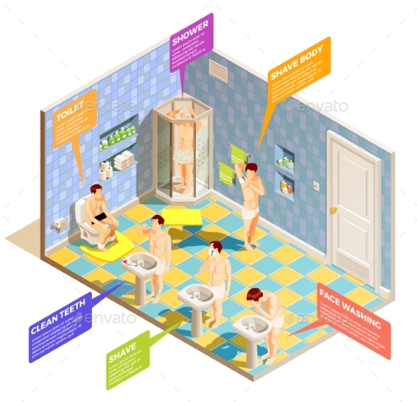 Hygiene Bathroom Isometric Infographics - People Characters