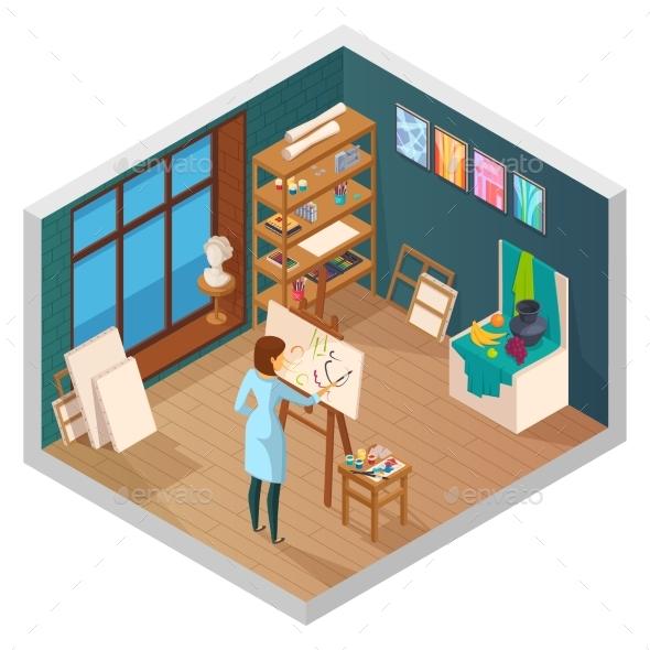 Modern Painting Studio Composition - Miscellaneous Vectors