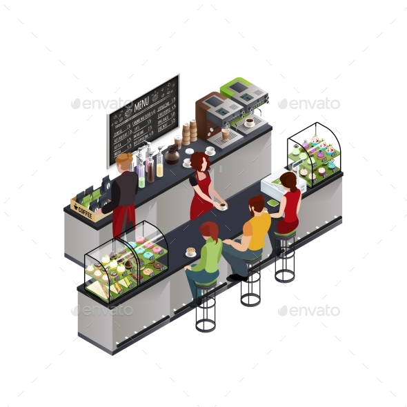 Hipster Coffee Bar Isometric Poster - Food Objects