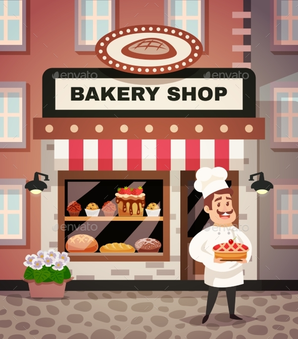 Bakery Shop Cartoon Illustration - Food Objects