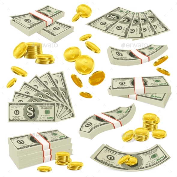 Realistic Coins And Banknotes Money Set - Business Conceptual