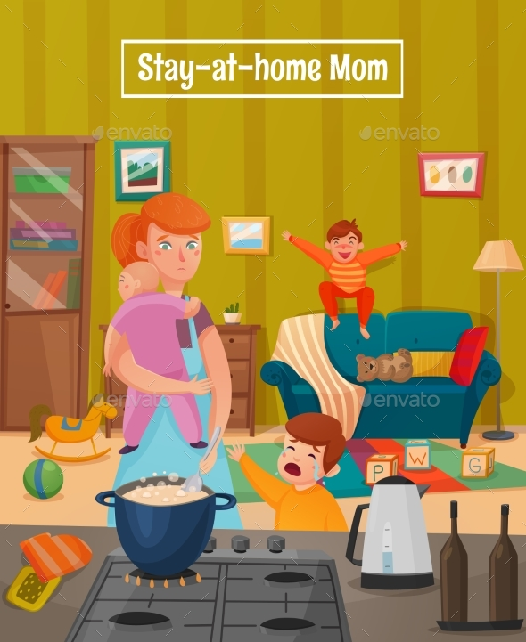 Motherhood Tired Mother Poster - People Characters